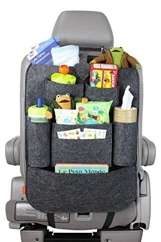 MSE Seat Back Car Organizer Woolen Felt Seat Back Kick Protectors for Kids, Storage Bottles, Tissue Box, Toys