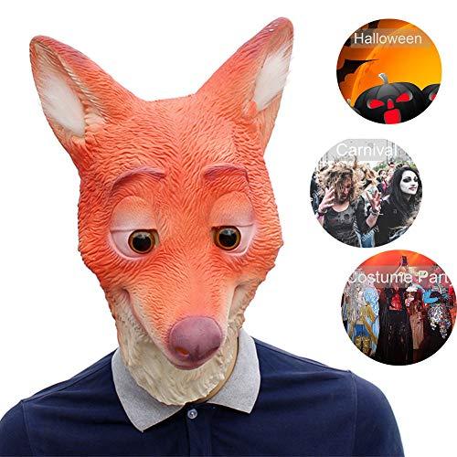 RISILAYS Tiermaske, Fox Kopfmaske, Latex Kopfbedeckung, Halloween Anime Requisiten Karneval Ostern Cosplay Urlaub Geschenk (Rot),Red