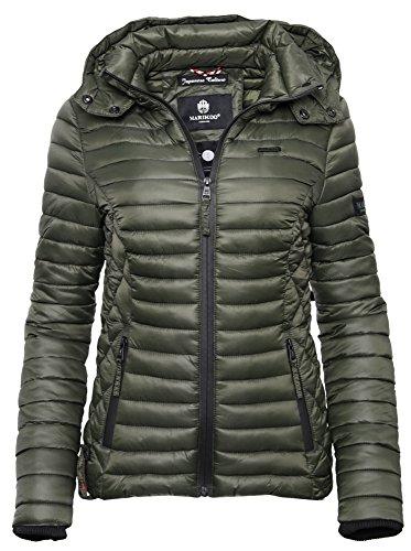 Marikoo SAMTPFOTE Damen Steppjacke - Leichte gesteppte Jacke Übergangsjacke mit Kapuze - Olive (L)