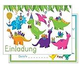Set: 15 Einladungskarten Kindergeburtstag: Dinosaurier Geburtstagseinladungen Einladungen Geburtstag Kinder Jungen Mädchen (15 Karten mit 15 zusammenpassenden Umschlägen Briefumschlägen)