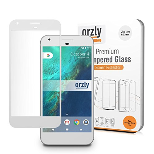 Google Pixel Screen Protector, Orzly 2.5D Pro-Fit Tempered Glass Screen Protector for Google Pixel Phone (5 inch model - 2016) - Transparent with CHALK WHITE Rim