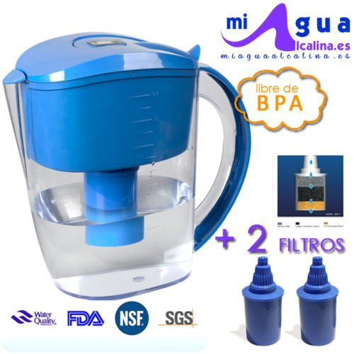 JARRA de agua alcalina MAA-HOME + 2 filtros + ¡Medidor de pH...