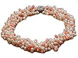 JYX four-strand 5x 7mm weiß Süßwasserperlen Halskette Tropfenform, Korallen-Perlen Pink