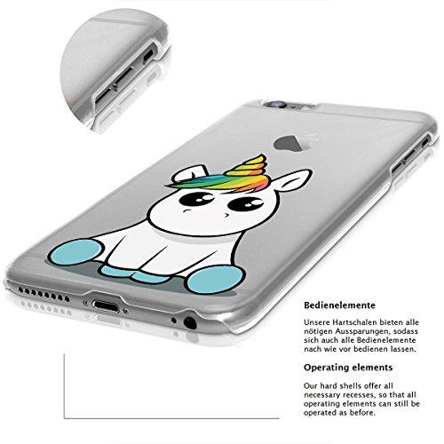 finoo | iPhone 8 Plus Handy-Tasche Schutzhülle | ultra leichte transparente Handyhülle in harter Ausführung | kratzfeste stylische Hard Schale mit Motiv Cover Case |Einhorn 02 Einhorn 02