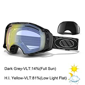Oakley Airbrake 57-71 Men's Ski Goggles grey shaun white hi-lite grey w/dark grey+hi yellow Size:0