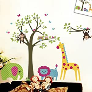 Discountfan large colorful tree jungle animals wall for Stickers habitacion bebe