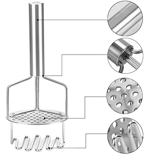 LUKASO Professional Potato Masher Stainless Steel - 1pcs Kitchen Tool Mashed Potatoes Stainless Gadgets Potato Rice Egg Salad Masher Silver
