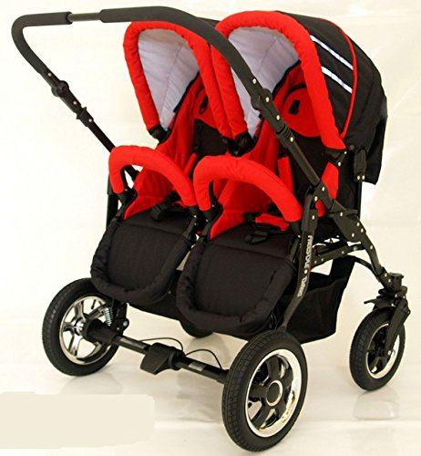 Complete Twin Pram - Carrycots, Chairs and Accessories - Black + Red BBtwin Colour: black + red. Includes 2 carrycots and 2 chairs plus leg cover, carrycot covers, bag backpack, lower basket, 2 plastic rain covers and 2 fly nets. - High-quality pneumatic, swivelling and shock-absorbent wheels. 2