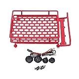 Y56 Empfänger Dachträger Gepäck Luggage Roof Rack Basket 1:10 RC Cars Dachgepäckträger LED Licht Fernbedienung Klettern Auto (Rot)