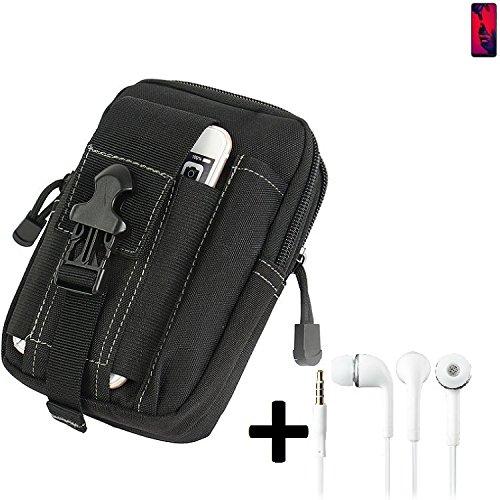 K-S-Trade Gürteltache für Huawei P20 Pro Dual-SIM Gürtel Tasche Schutzhülle Handy Schutz Hülle Smartphone Tasche Outdoor Handyhülle schwarz inkl. Extrafächer + Kopfhörer