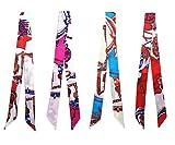 4 pezzi Fletion Donna Ragazze Moda Fascia per capelli Elegante Borsa Retro borsetta Sciarpa Colore Headwear nastro decorativo Polso (4 pezzi Sciarpa Twilly)