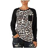 Xuthuly Herbst-Frauen-populäres reizvolles Leopard-Patchwork-Lange Hülsen-dünne Oberseiten-Blusen-Damen-runder Kragen-tägliches beiläufiges Pullover-Hemd