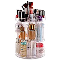 DECO EXPRESS 360 Degree Rotating Makeup Organiser for Jewellery Cosmetics and Perfumes Crystal Clear Display Stand with 8 Layers Great Capacity Storage for Dresser Bedroom or Bathroom