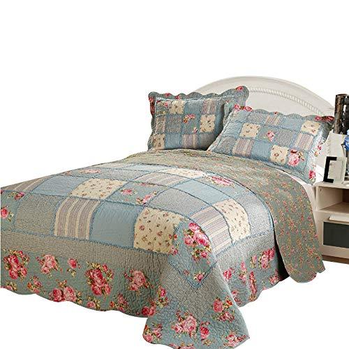 Double Quilting Quilt 3 Stück Set Baumwolle Ländlichen Floralen King Size Bedspread (230 * 250CM) Kissenbezüge (50 * 70CM * 2) Multifunktionsdecke Home Decoration,Blue ()