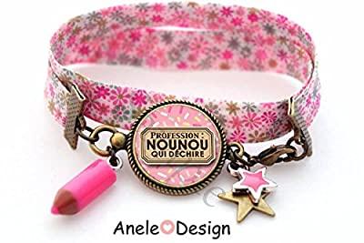 Bracelet Cadeau pour Nounou! - crayon rose étoiles cabochon rose marron original vintage retro idée cadeau