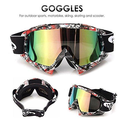 Preisvergleich Produktbild AUDEW Motorrad Goggle Motocross Dirtbike Crossbrille Sportbrille Wind Staubschutz Fliegerbrille Snowboardbrille Schneebrille Skibrillen Wintersport Brille Off-Road Schutzbrille P932farbig