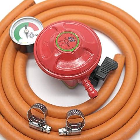 Igt Patio Gas 27Mm Regulator With Pressure Gauge & 1M Hose +2 Clips 5 Y Warranty