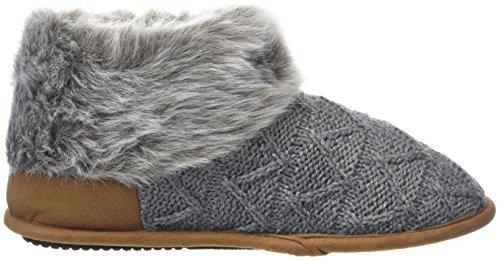 Dearfoams Damen Textured Knitted Bootie W/Pile Cuff Hohe Hausschuhe Grey (Dark Heather Grey)