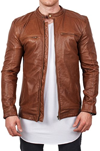 Echte Nappa Schafsleder Lederjacke Leather Jacket klassisch cogncac, Grš§e XL, Cognac