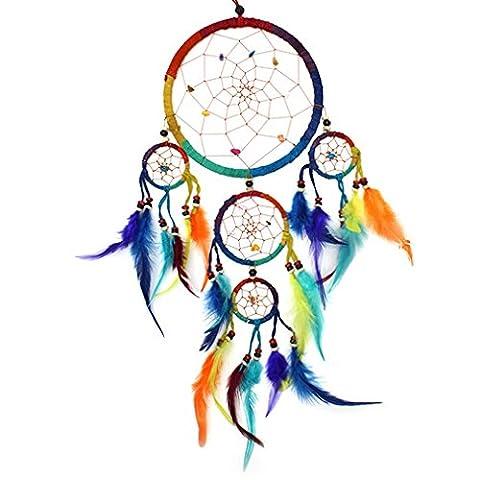 Large Dreamcatcher Rainbow Bright Feather & Bead Native American Dream Catcher - Fair Trade - Free Postage
