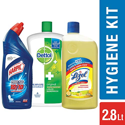 Harpic Toilet Original Cleaner, 1 L with Lizol Floor Cleaner, 975ml (Citrus) and Dettol Original Liquid Soap Jar, 900ml