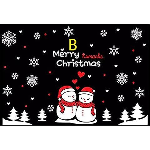 Wall stickers decorazione murale?natale decorazione decorationsChristmas poster vetrina Decalcomanie Natale pupazzo di neve B) bianco + rosso , Re