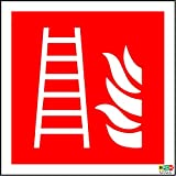 ISO Safety label Sign International Fire ladder Symbol - Self adhesive sticker 100mm x 100mm (PACK OF 5 STICKERS)