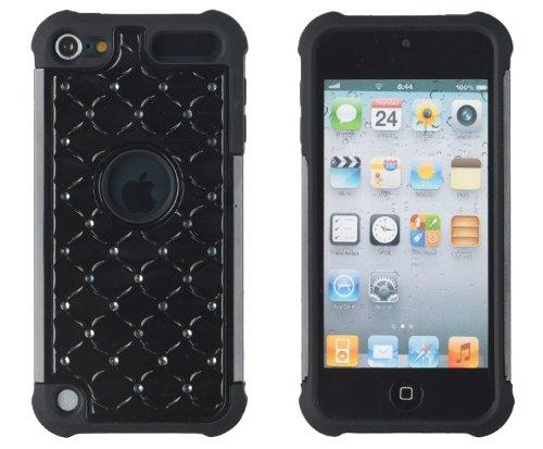 DandyCase Hybrid-Schutzhülle für Apple iPod Touch 5 / 5G (5. Generation), mit DandyCase Schlüsselanhänger, Bildschirmreiniger, Schwarz (Ipod 5 Touch Aqua Fällen)