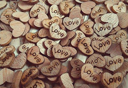 ILOVEDIY 200X Holz Love Herzchen Tischdeko für Hochzeit Scrapbooking (Zurück Scrapbooking)