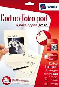 Avery 20 Faire-part ivoire A6 - Impression Jet d'Encre - (C2342)
