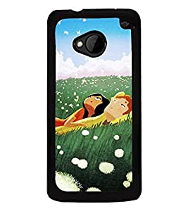 Fuson Premium 2D Back Case Cover Cute couple With White Background Degined For HTC One M7::HTC M7
