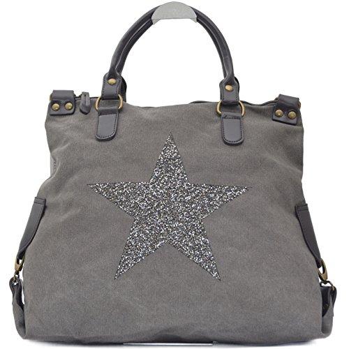 Vain Secrets Sternen Shopper Damen Handtasche mit Schulterriemen (Grau Strass)