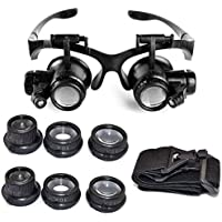 EUROXANTY®- Lupa 10 x 15 x 20 x 25 x Gafas de Ojo de Lupa LED para Joyero para Reparaciones de Relojes.
