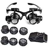 EUROXANTY-Lupa 10 x 15 x 20 x 25 x Gafas de ojo de lupa lupa LED de joyero para reparación de relojes