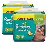 Pampers Baby Dry Größe 5 Junior 11-25kg Jumbo Plus Pack (2 x 72 Windeln)