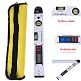 #2: Digital Angle Finder 400mm/16 inch 0~225°Backlit LCD Inclinometer Protractor Spirit Level Gauge Meter with Portable Bag for Industrial Applications Renovation Works Electronic Dual Measure Tool measuring