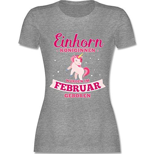 Shirtracer Geburtstag - Einhorn Königinnen Wurden IM Februar Geboren - Damen T-Shirt Rundhals Grau Meliert