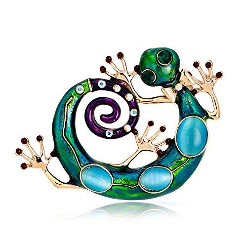 Skyllc® Lovely Llizard Broche de animales de cartón Pin del Rhinestone Broche de Cristal Artificial El mejor regalo para el cumpleaños (verde)