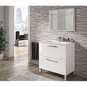 HABITMOBEL Mueble de Baño con Espejo y Lavabo Ceramica Incluido