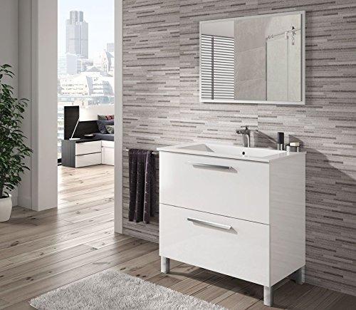 Mueble de Baño Completo: Espejo + LAVABO CERÁMICO + Mueble, model Charles