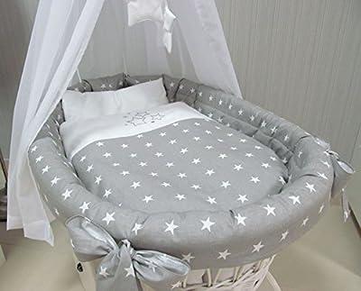 """Babymajawelt® Juego de cama aditivo para cuna""""STARS"""" estrella para cuna - 7 partes, ropa de cama, protector, dosel, manta, almohada (sin cuna) (gris)"""