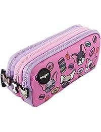 FRINGOO - Trousse à crayons avec 3compartiments jolie et amusante - Pour enfant Large Pugs & Sweets - 3 Compartments