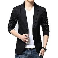 BiSHE Mens Blazer Summer Coat Notched Lapel Smart Formal Dinner Suits Jacket(Black,UK S)