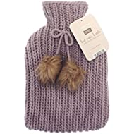 Chunky Knit Hot Water Bottle - 2 litre (2L) - Premium Soft Knitted Pom Pom Cover - Purple/Violet