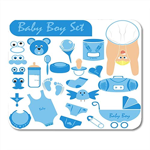 Mauspads Baby Boy Great Collection Einschließlich Körper Gesicht in schöner Position Tragen Windel Kinderwagen Schnuller Rassel Mauspad für Notebooks, Desktop-Computer Bürobedarf