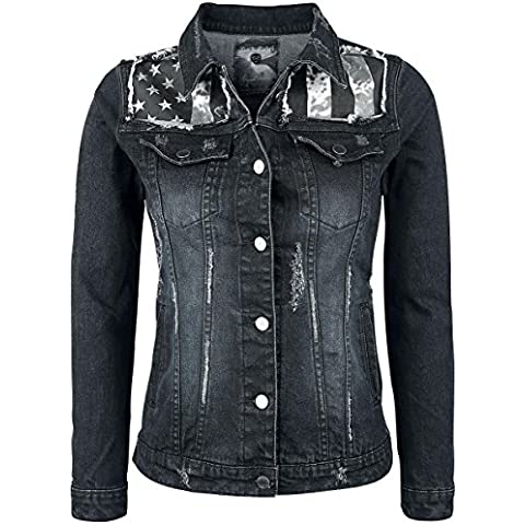 Rock Rebel by EMP Flag Jeansjacket Chaqueta tejana Mujer negro/azul
