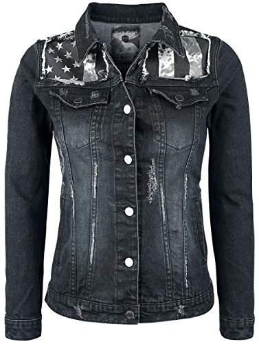 Rock Rebel by EMP Flag Jeansjacket Giacca di jeans donna nero/blu XS