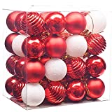 Valery Madelyn 48 Stücke 4CM Kunststoff Weihnachtskugeln Rot Weiß Christbaumkugeln mit Aufhänger Weihnachtsbaumschmuck Weihnachten Dekoration
