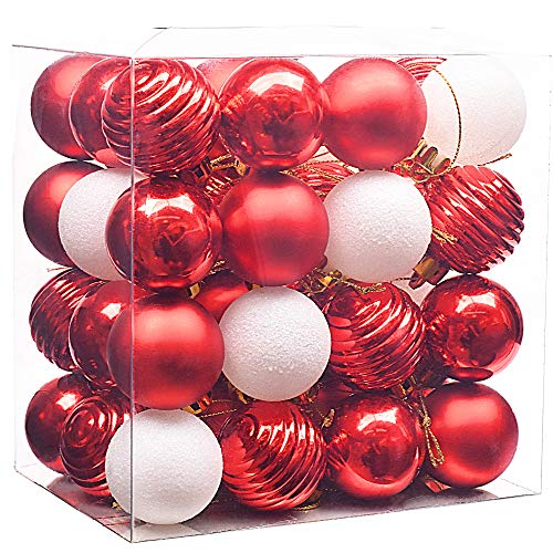 Valery madelyn paline di natale decorazione dell'albero di natale luxury rosso e bianco infrangibile decorazioni degli ornamenti della palla dell'albero di natale 40mm(48 pezzi)