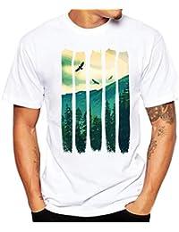 TANKASE Camiseta de Hombre,Camiseta Verano de la Impresión de Manga Corta Talla Grande de Camiseta Blanco
